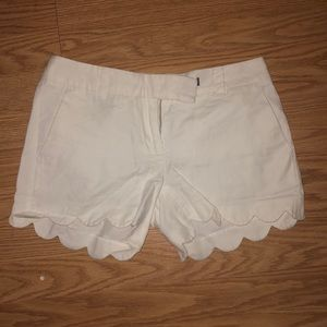 J.Crew white scalloped shorts
